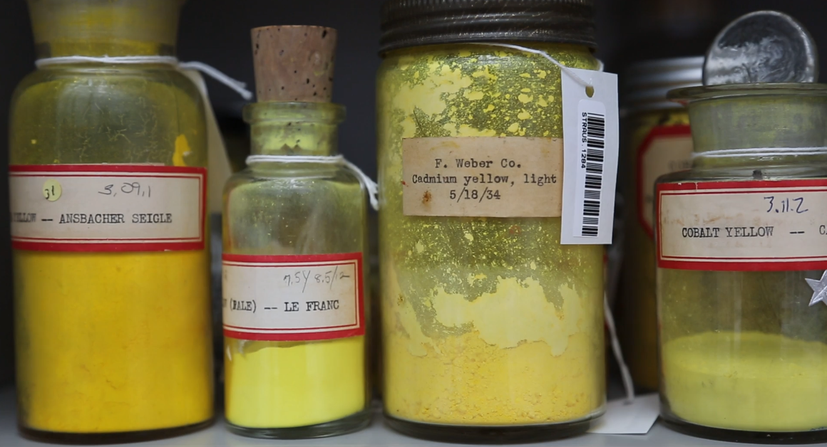 Cadmium yellow and other sunny shades populate a portion of the Forbes pigment collection.