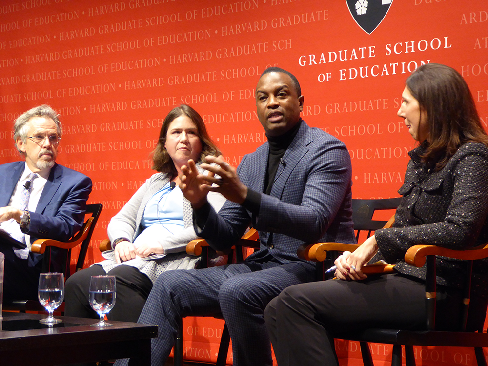 Askwith Forum hosted a panel with Jennifer Blatz, Michael McAfee, Laura Pinsoneault, and Paul Reville to discuss how to use collaborative actions to improve children's lives.