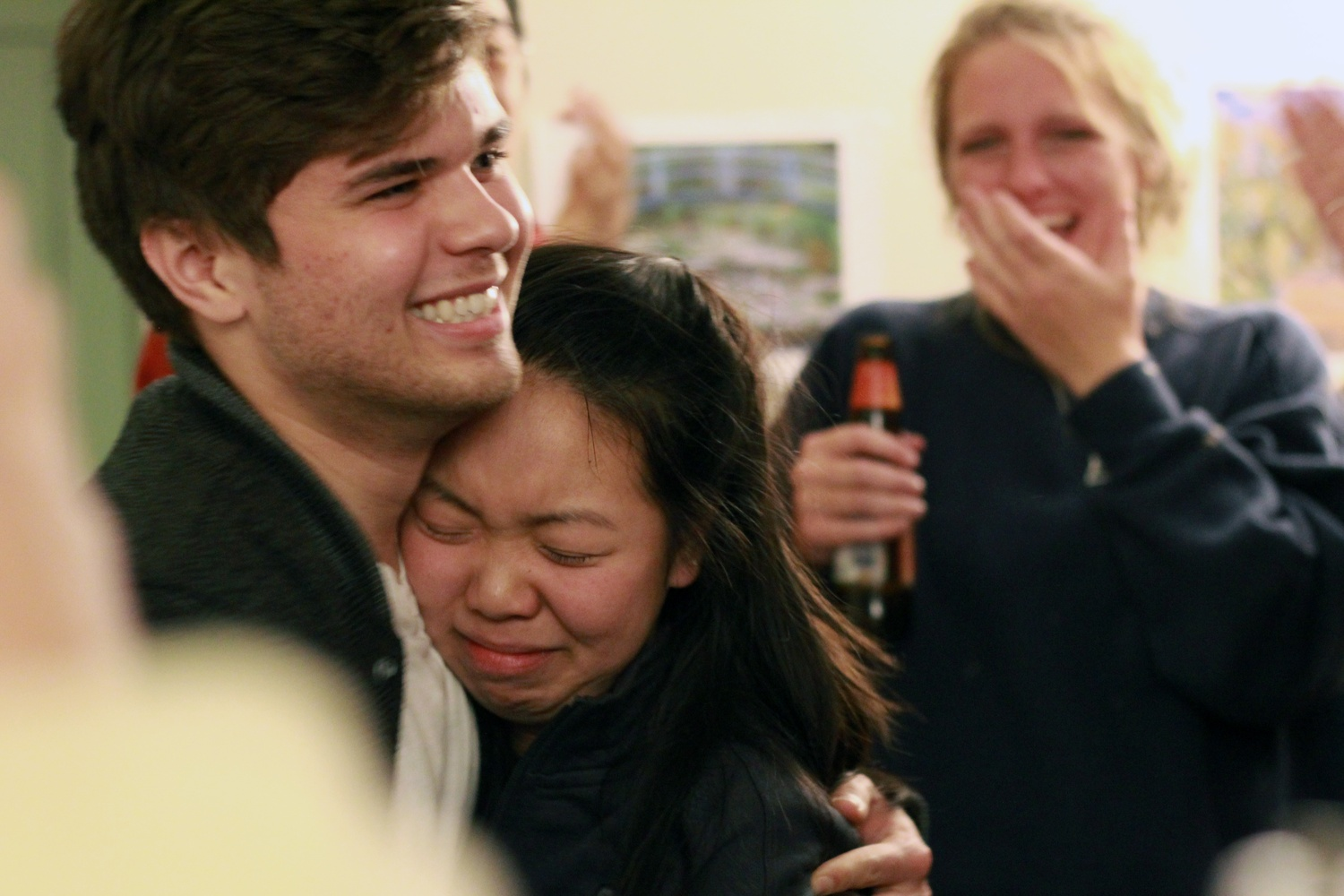 Catherine L. Zhang '19 hugs her vice president, Nicholas D. Boucher '19 shortly after they receive news of their victory in November 2017.