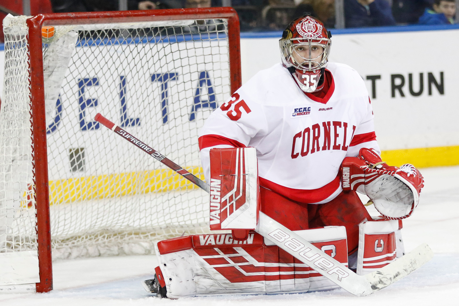 Big Red net-minder Matt Galajda stymied the Crimson attack on Friday, posting a 25-save shutout.