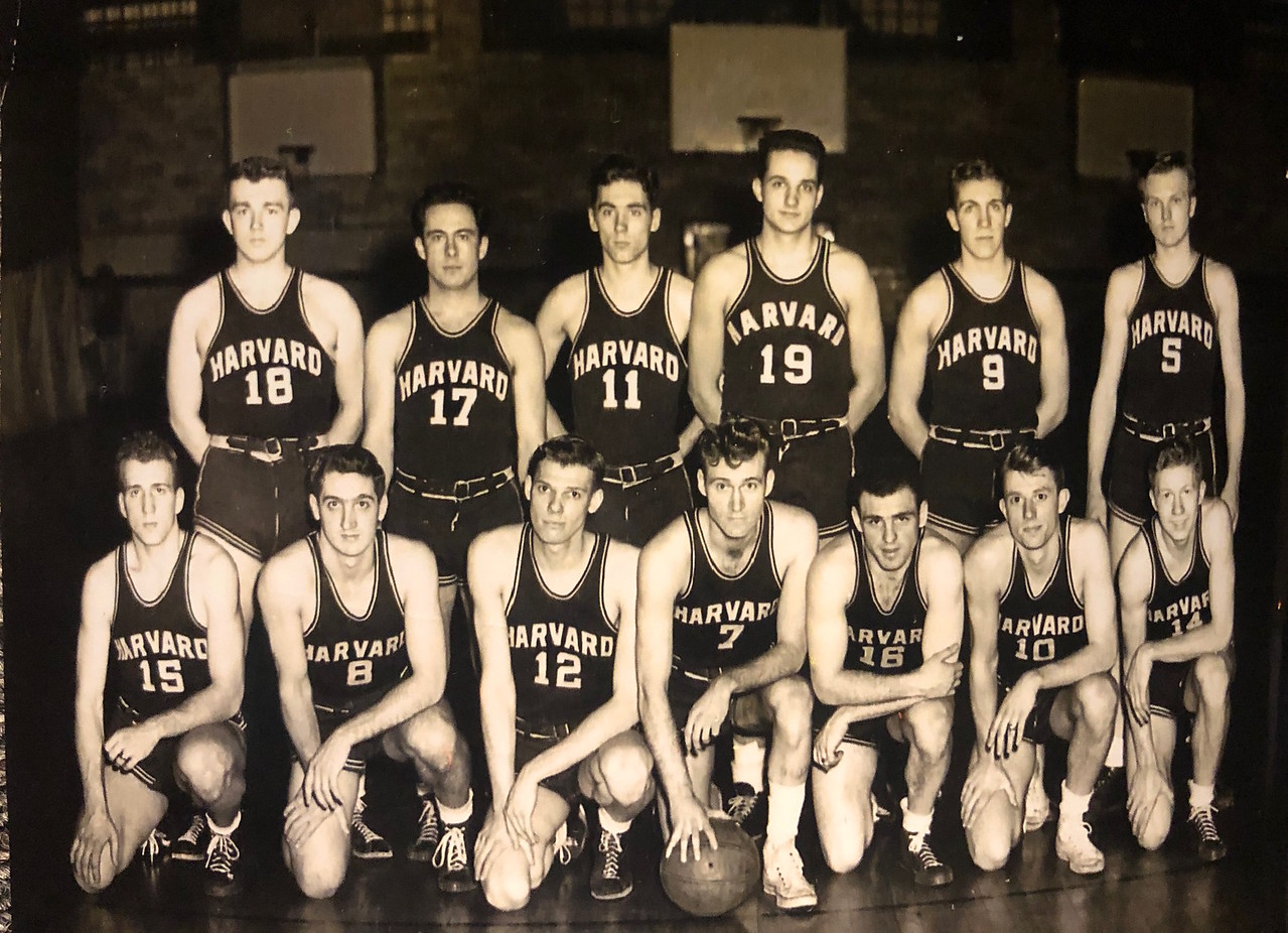 The Harvard men's basketball team of 1946 after their Ivy League Championship win, their last until 2012.
