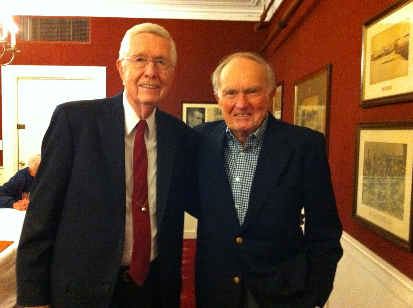 Jack Clark and Don Swegan were reunited for the first time in 66 years (1946 -2012) at the Harvard basketball banquet.