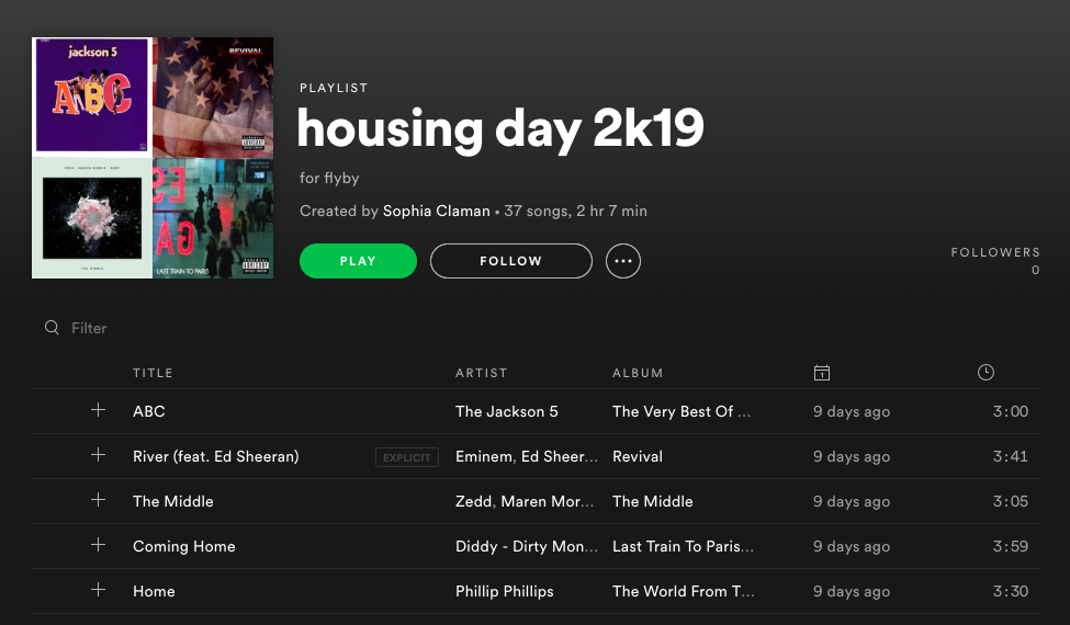 Housing Day Playlist 2019