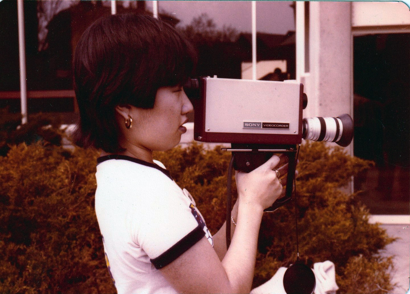 Tajima filming on campus.