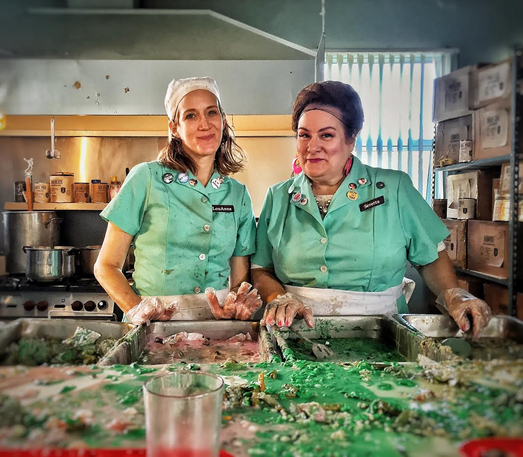 "Mary Manofsky (left) stars as LouAnne and Donna Pieroni (right) stars as Seretta in ""Lunch Ladies"" (2017), written by Clarissa Jacobson and directed by J.M. Logan."