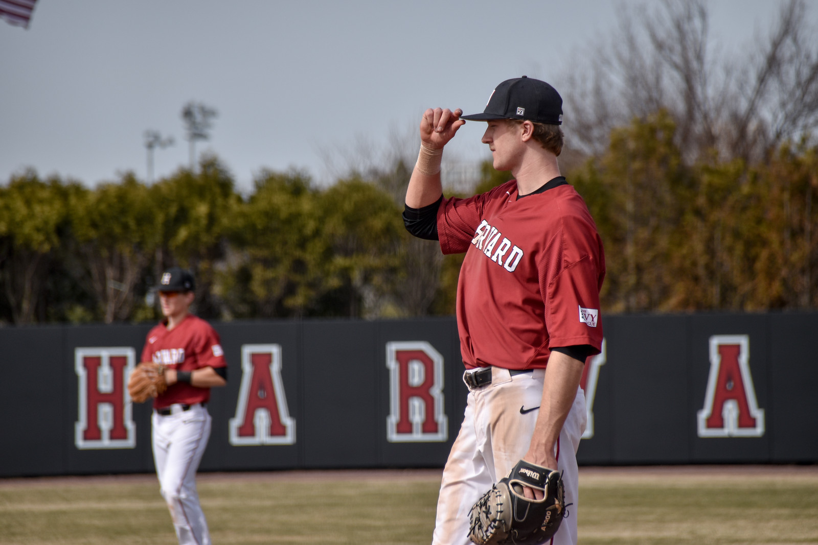 First baseman Patrick McColl takes his position in last weekend's series against Princeton.