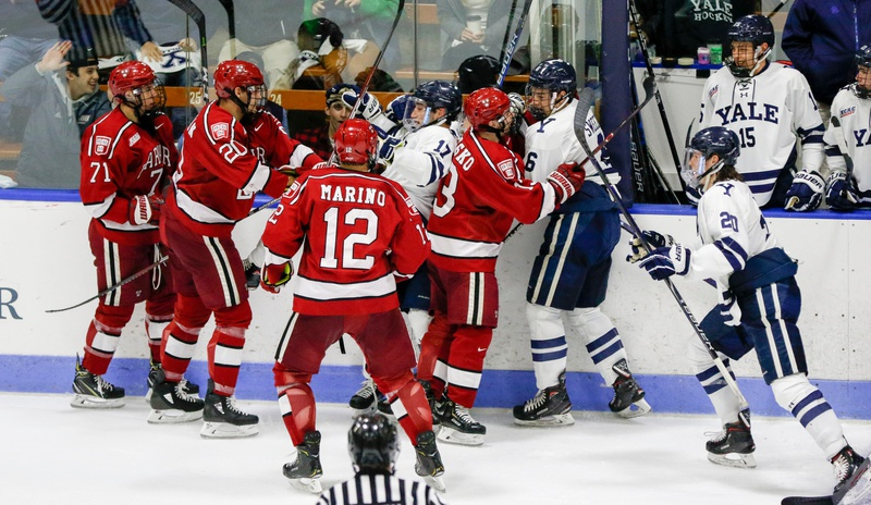 Flying fists are par for the course when Harvard clashes with Yale, and its two contests this season were no exception.