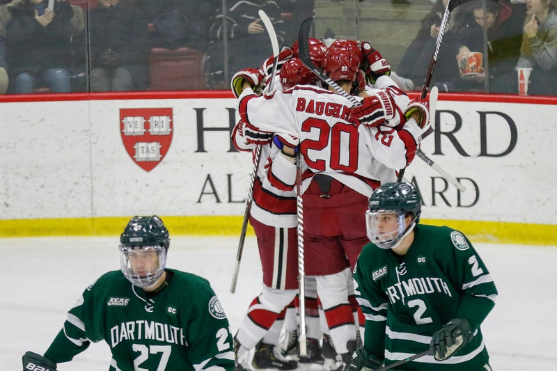 Though the visitors tend to steal the first game when Dartmouth and Harvard meet in the playoffs, the Crimson bucked the trend this year.