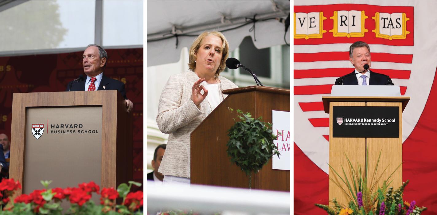 Michael R. Bloomberg, Roberta A. Kaplan '88, and Juan Manuel Santos speak at Business School, Law School, and Kennedy School Class Day ceremonies.