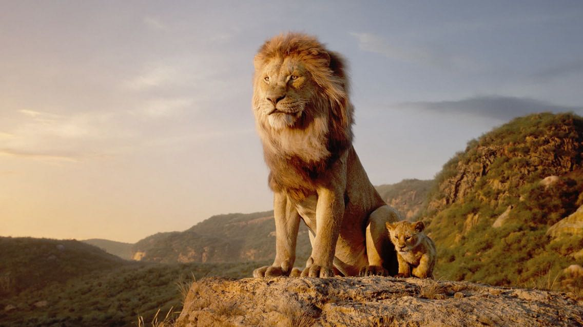 """James Earl Jones voices Mufasa (left) and JD McCrary voices young Simba (right) in Disney's """"Lion King,"""" directed by Jon Favreau."""