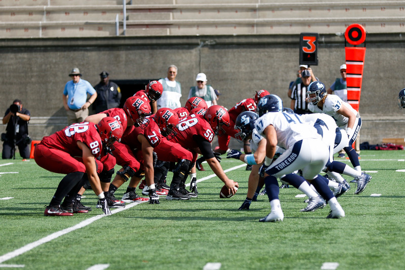 In last year's matchup with San Diego, the offensive line led the way for 266 Crimson rushing yards.