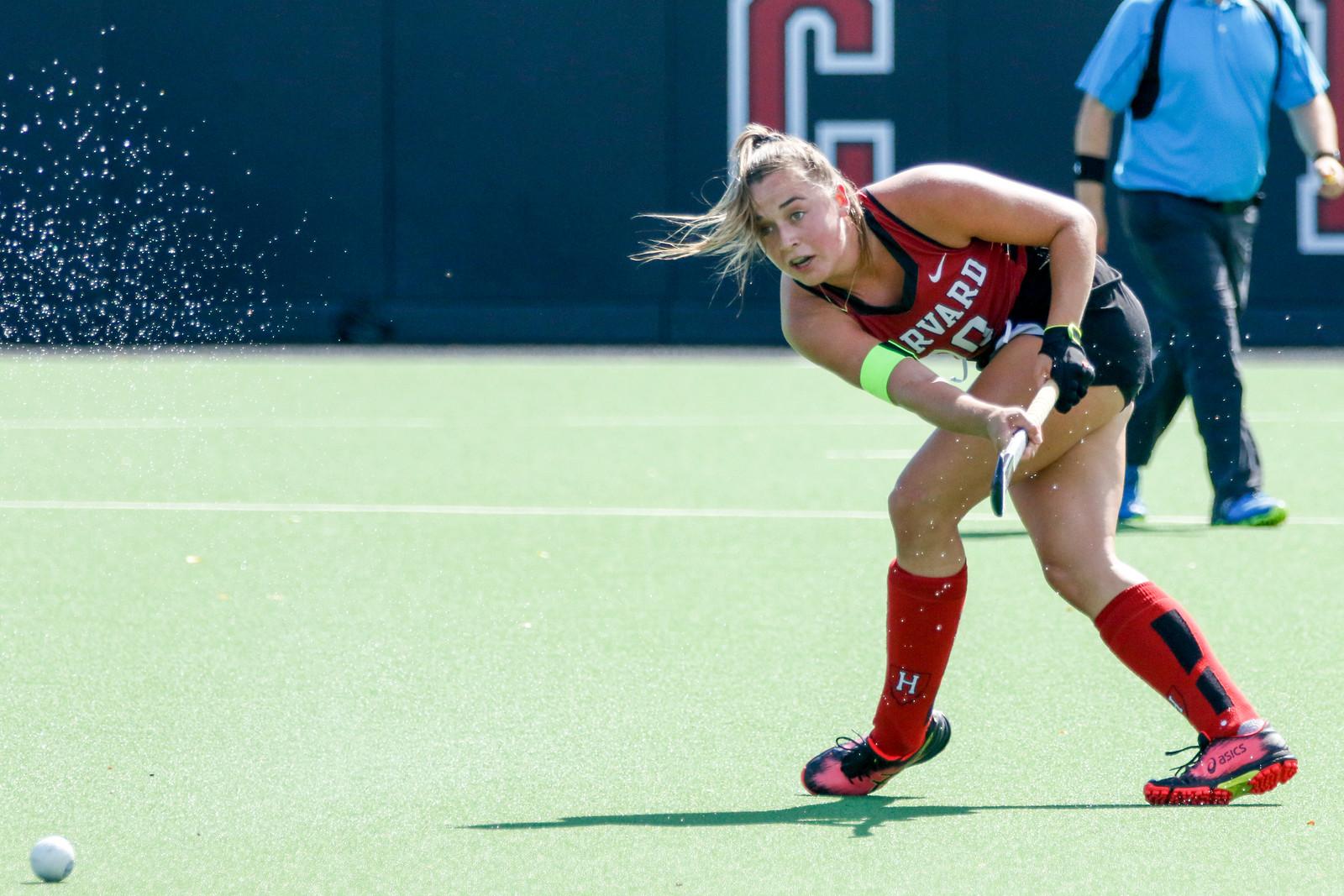 Harvard co-captain Bente van Vlijmen scored twice in the Crimson's 4-1 win over Maine on Sunday.
