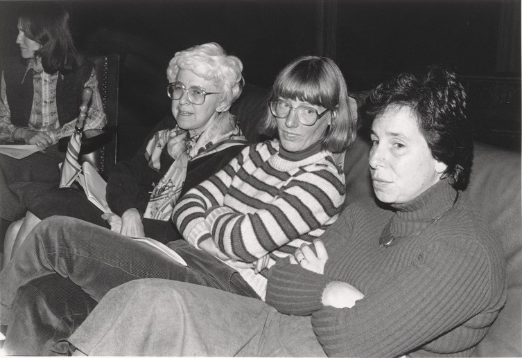 Barbara M. Solomon '40, Susan W. Ware, and Judith A. Kates '62 participate in a panel on women's studies at Harvard sponsored by the Radcliffe Union of Students in 1981.