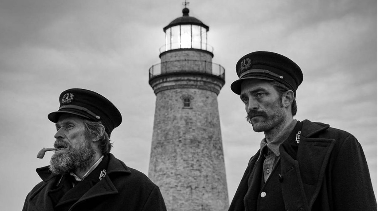 "Robert Pattinson and William Dafoe star in ""The Lighthouse"" as two lighthouse keepers on a remote New England island in the 1890s."