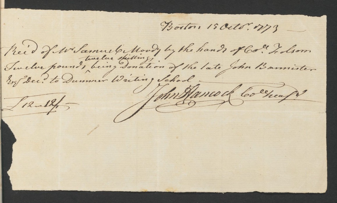 A receipt from October 19, 1773 signed by John Hancock for a gift from John Bannister to the Dummer Writing School.
