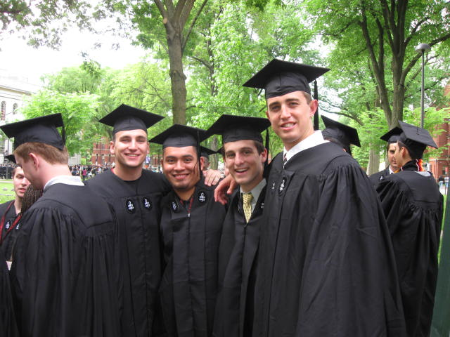 Daniel L. Valenti '09, Nery M. Porras '09, Jeffrey W. Wannop '09, and Matthew D. Thomas '09 celebrate graduating from Harvard College.
