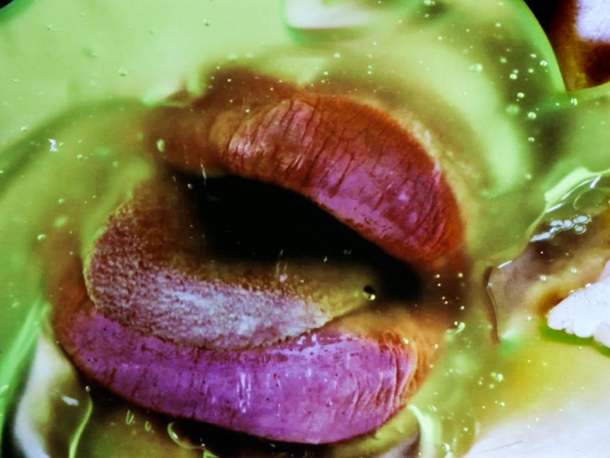 """Marilyn Minter's """"Green Pink Caviar"""" is one of the videos shown in the new MFA exhibit """"Read My Lips."""""""