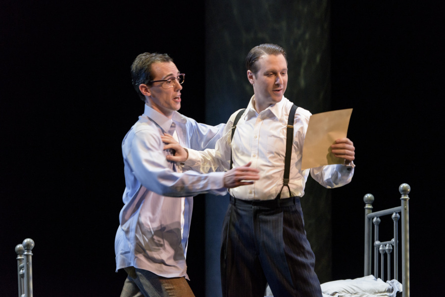 """Hawkins Fuller (Jesse Blumberg, R.) teases Timothy Laughlin (Jesse Darden L.) about his letter in Boston Lyric Opera's production of """"Fellow Travelers"""""""