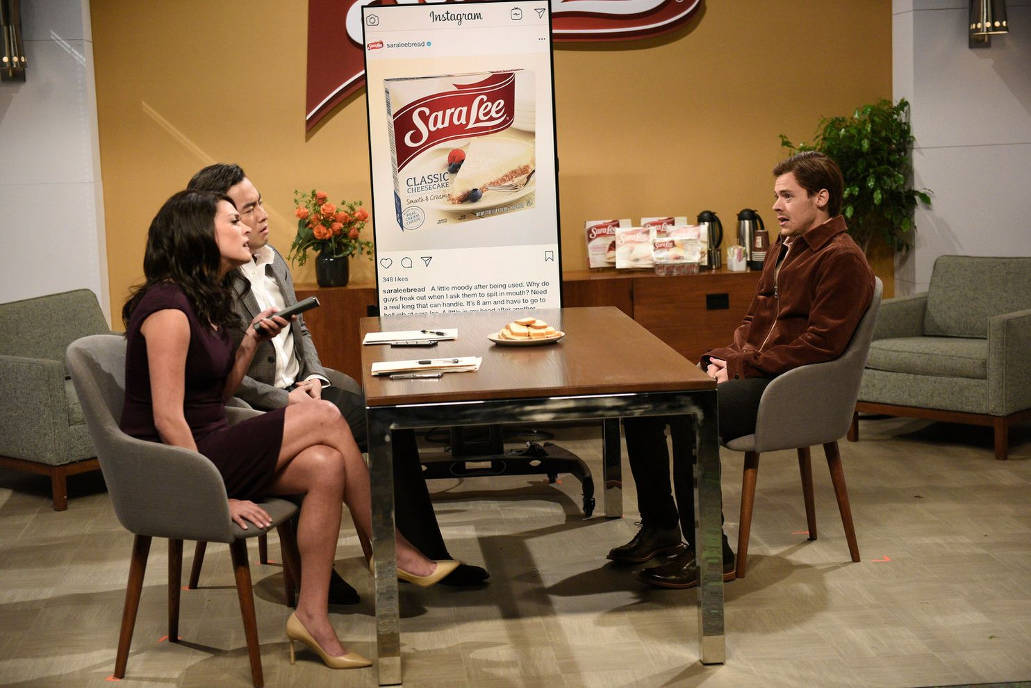 """Cecily Strong, Bowen Yang and Harry Styles in a Sara Lee-themed sketch on """"Saturday Night Live."""""""