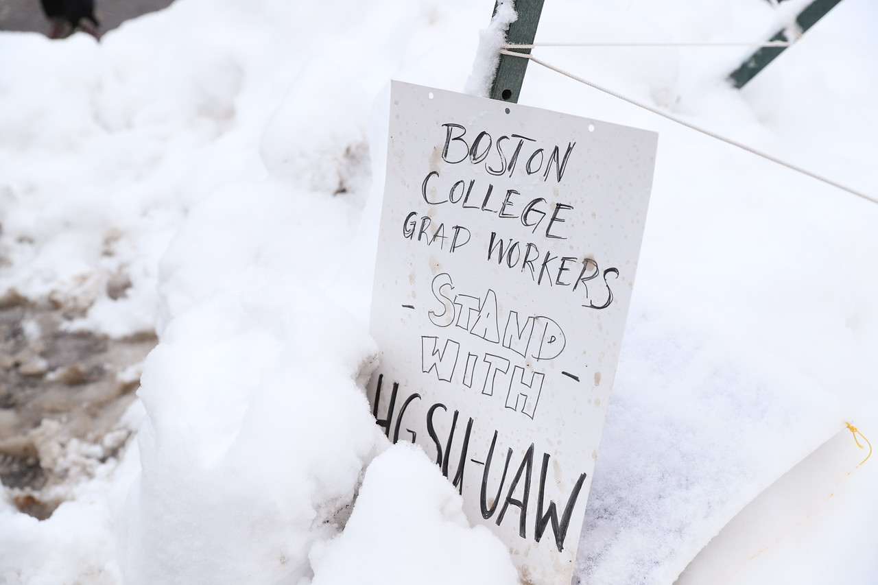 Members of unions affiliated with other local universities joined Harvard's graduate student union as they picketed in Harvard Yard.