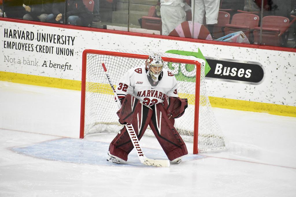 Harvard goalie Cameron Gornet made his first start in three weeks on Friday night against Yale. The Crimson tied the Bulldogs, 4-4.
