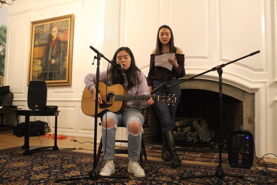 JuHye Mun '22, a member of The Wave team, performs at an open mic.