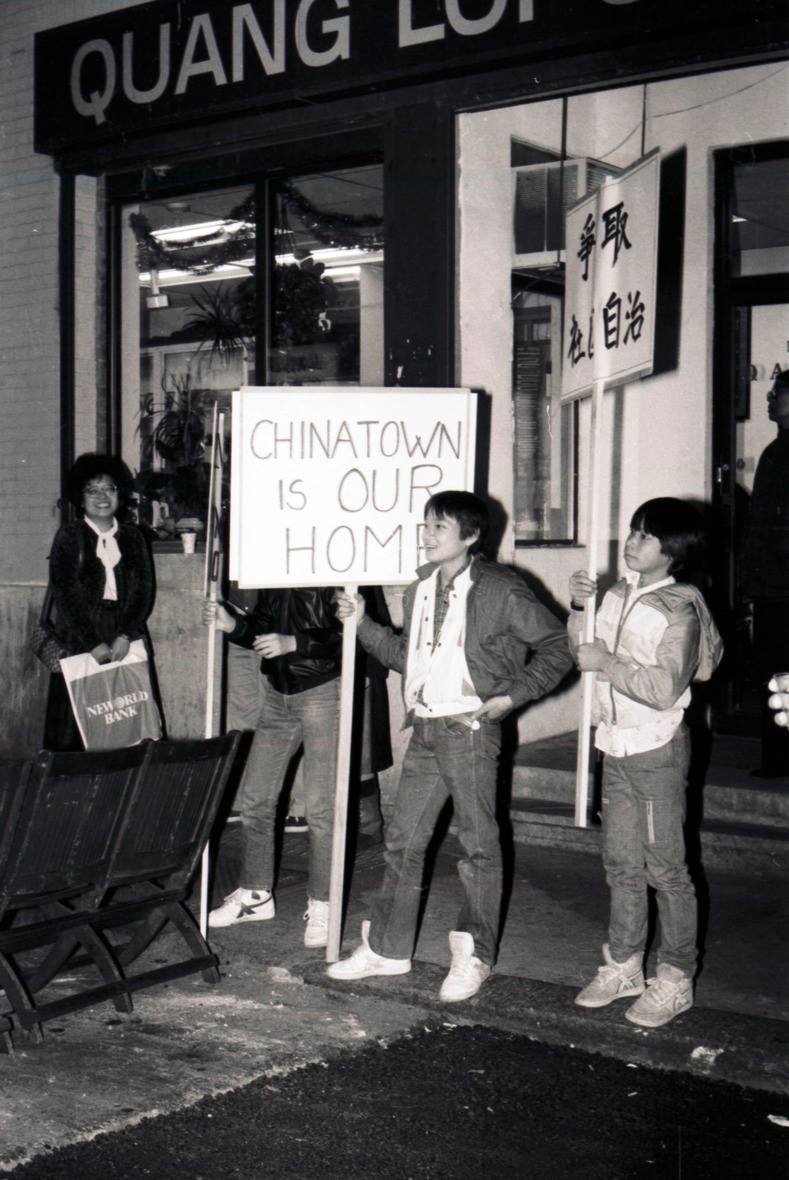 Protestors demonstrate against gentrification in Chinatown.