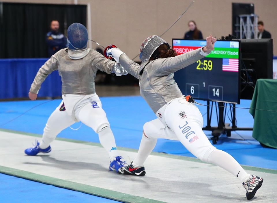 Tartakovsky avenged her previous loss to Criscio with a 15-6 win in Salt Lake City — the bout pictured — defeating the Italian Olympian.