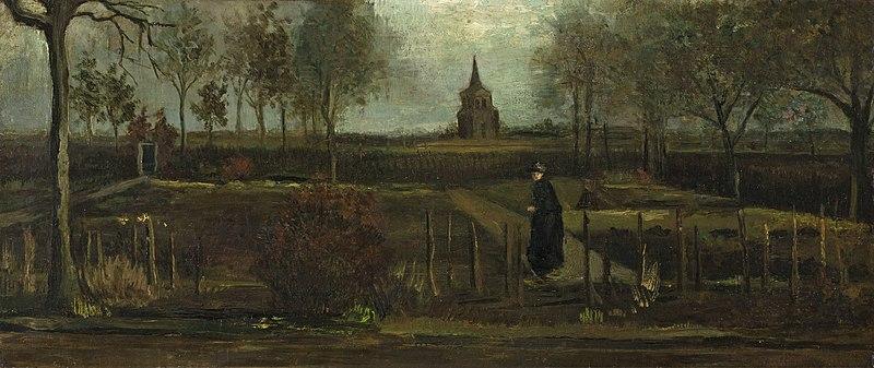 """Van Gogh's """"The Parsonage Garden at Nuenen"""" (1884)."""