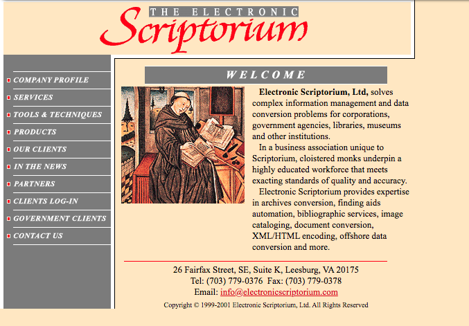 The homepage of the Electronic Scriptorium Website in August of 2002.
