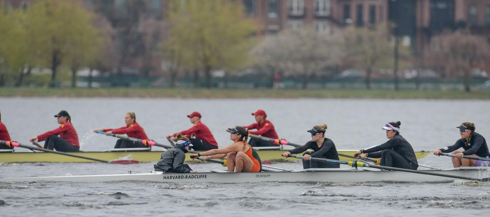 Senior rower Grace Eysenbach, pictured in the front boat in the orange and green, has appeared for both First and Second Varsity Eights for women's heavyweight crew and earned a CRCA National Scholar Athlete Award in her junior year.