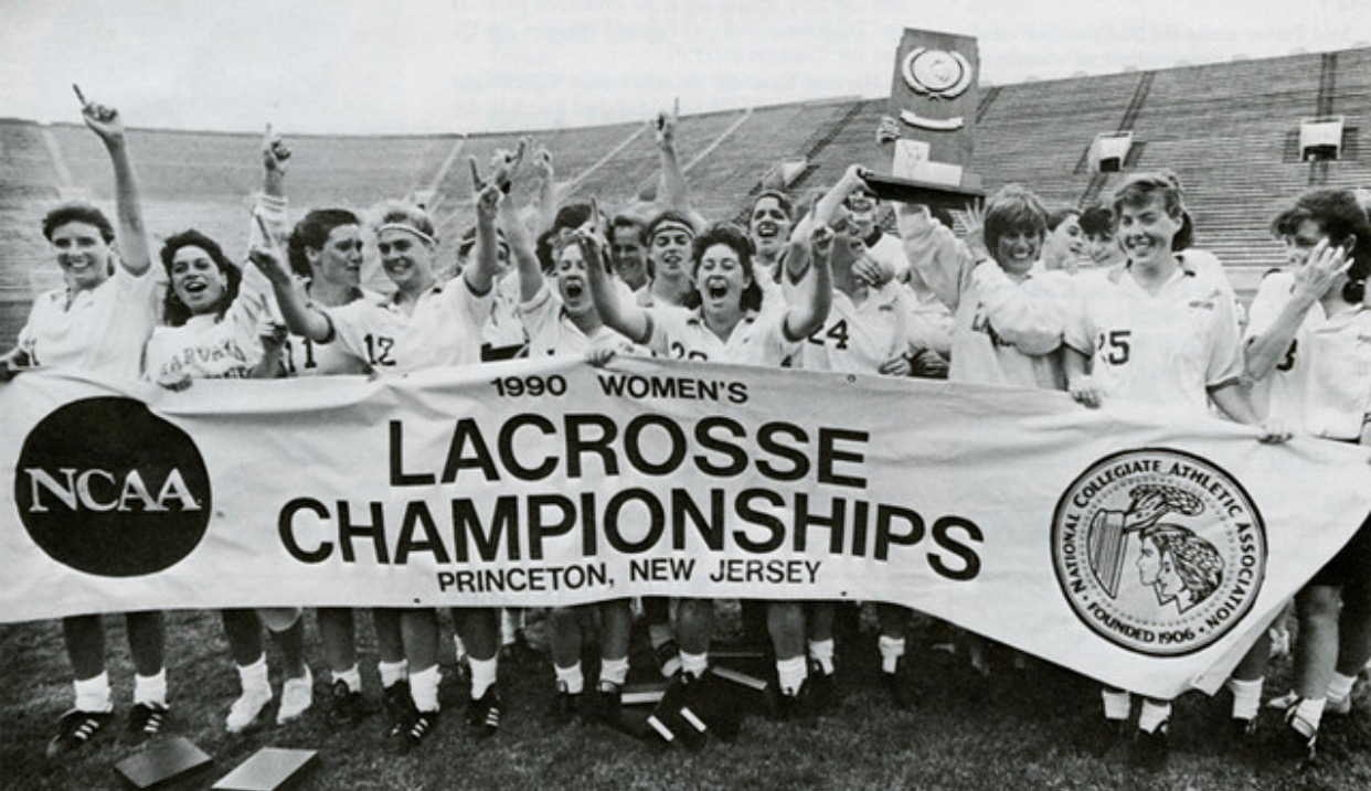 The women of Harvard lacrosse made history as the first women's team to win an NCAA title for the Crimson in 1990.