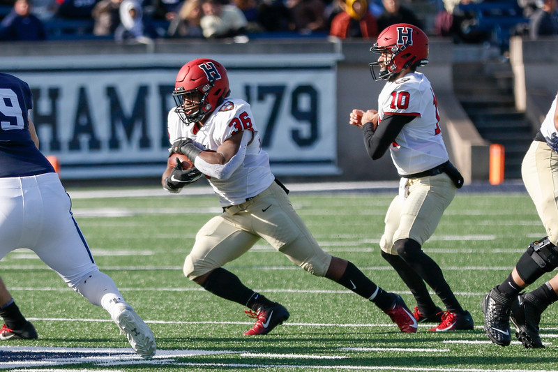 Senior running back Devin Darrington carries the ball against Yale in what may prove to be his final game in a Harvard uniform.