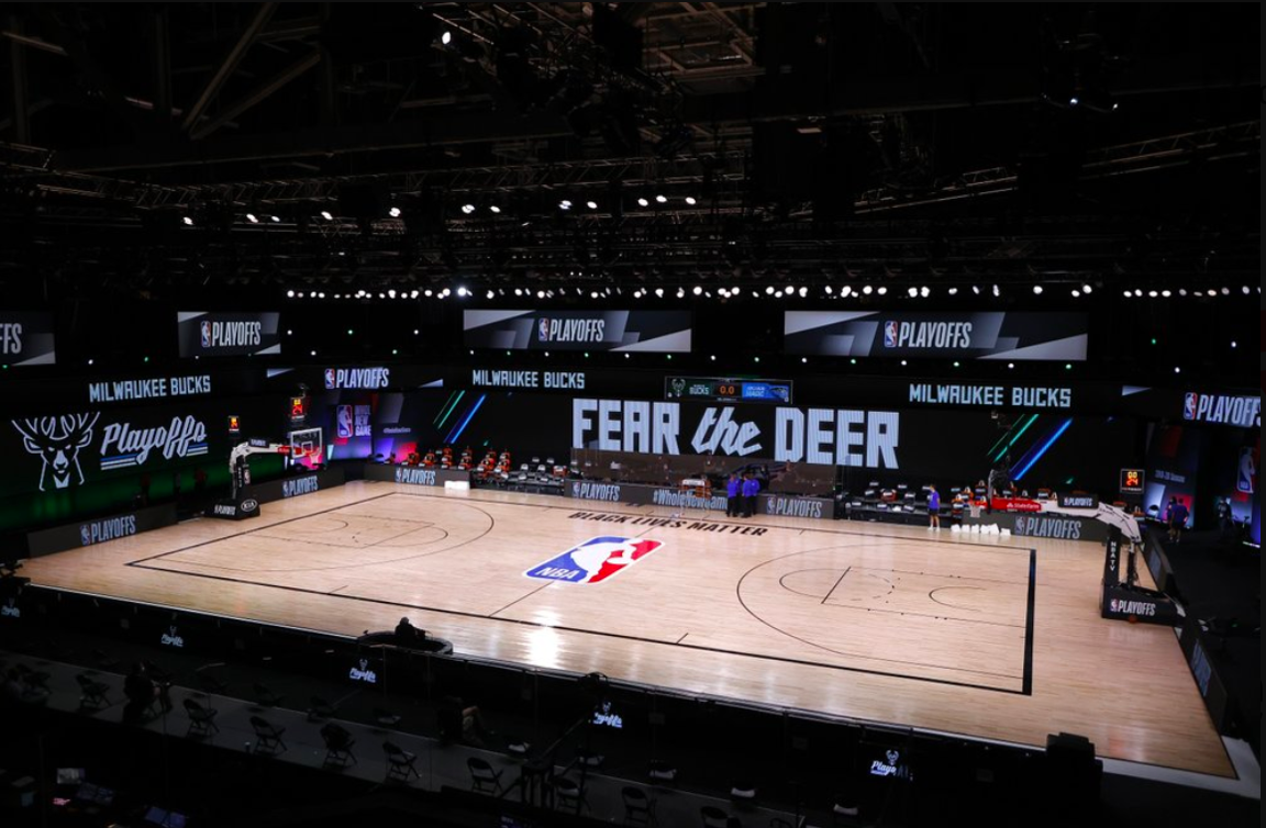 The court at NBA's Walt Disney Bubble, in the moments before the Milwaukee Bucks chose not to take the floor against the Orlando Magic on Wednesday night.