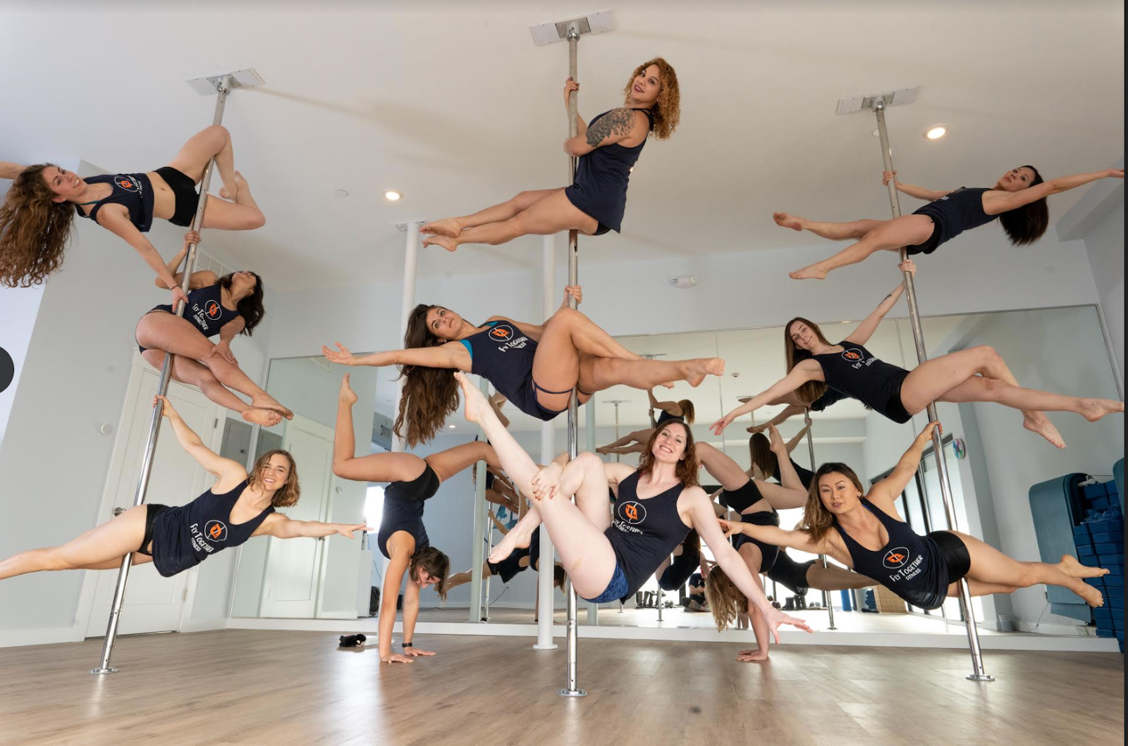 The 11 co-owners of Fly Together Fitness are biologists, musicians, educators, and real estate brokers; their ages range from 25 to 53 years old.