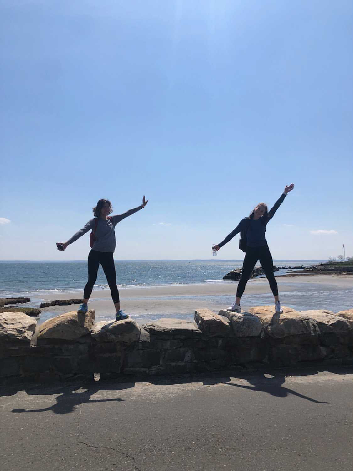 Heidi Jacobsen '24 and Bella Subramaniam at the beach in Greenwich, Conn., as part of their marathon walk to raise money for their local hospital.
