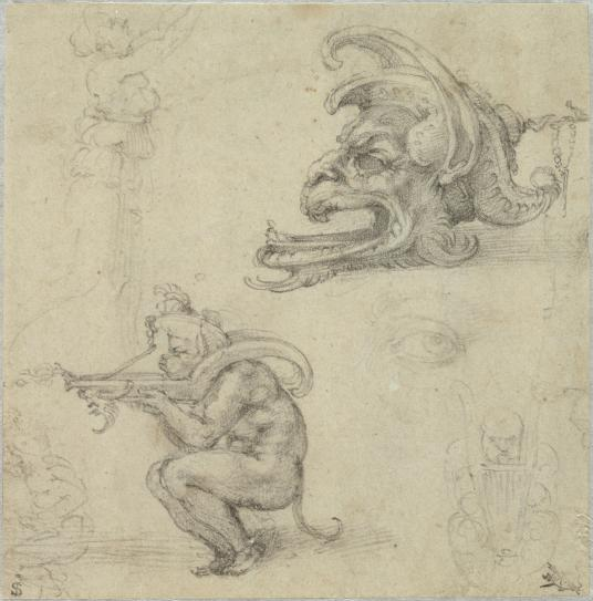 Michelangelo Buonarroti, Italian, Goldsmith's Designs, Including Two Ideas for an Oil Lamp, 1521. Black chalk on beige antique laid paper. Harvard Art Museums/Fogg Museum, Bequest of Charles A. Loeser, 1932.152.