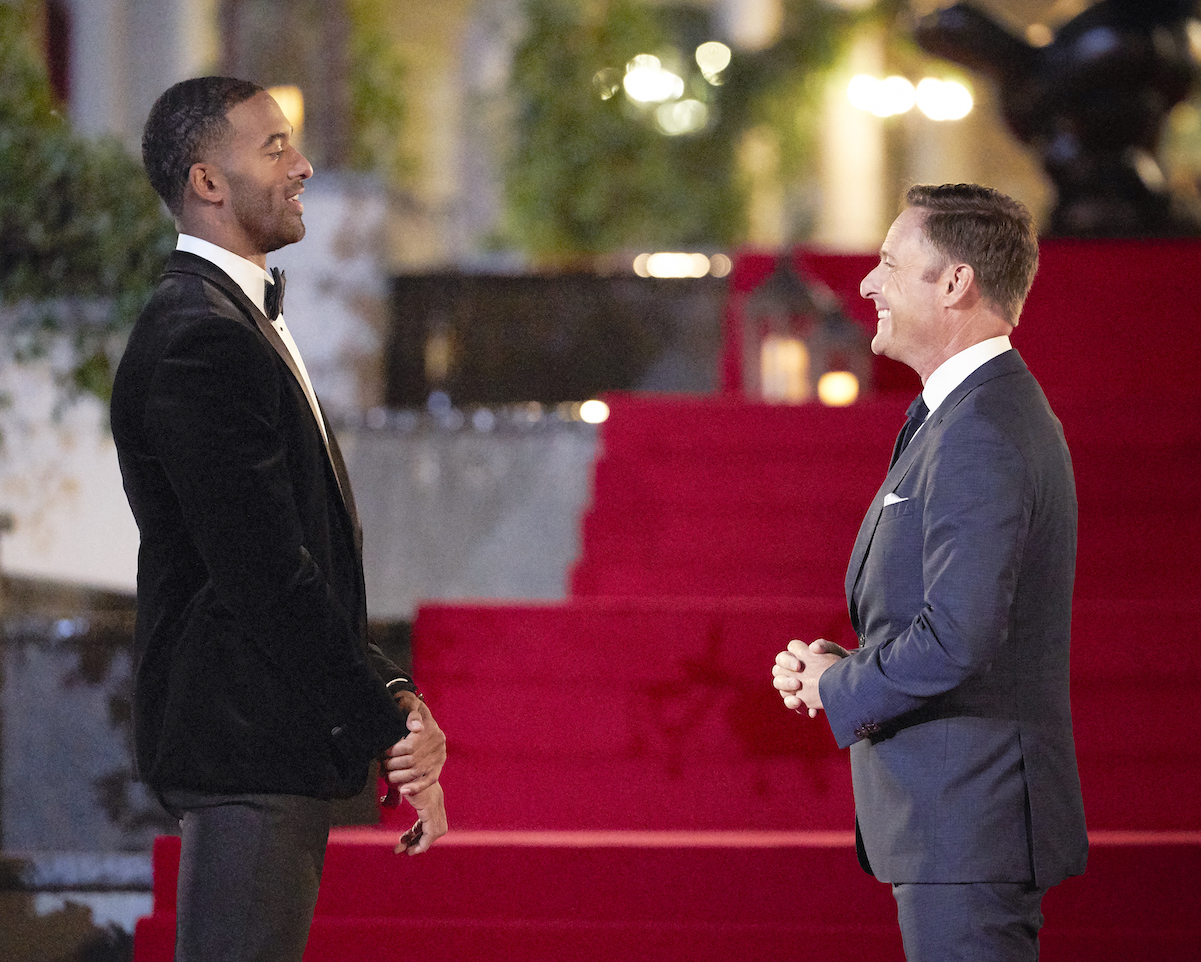 "Matt James, the first Black Bachelor, with ""The Bachelor"" host Chris Harrison."
