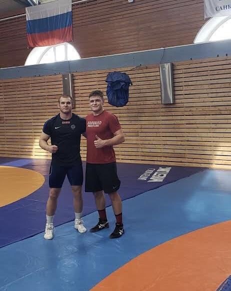 Yaraslau Slavikouski, right, trains in preparation for a full slate of competitions across Europe. In January, the sophomore wrestler earned bronze in Belarus Senior Nationals.