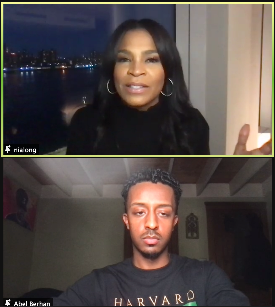 Award-winning actress Nia T. Long speaks at a webinar hosted by the Harvard Black Men's Forum Monday.