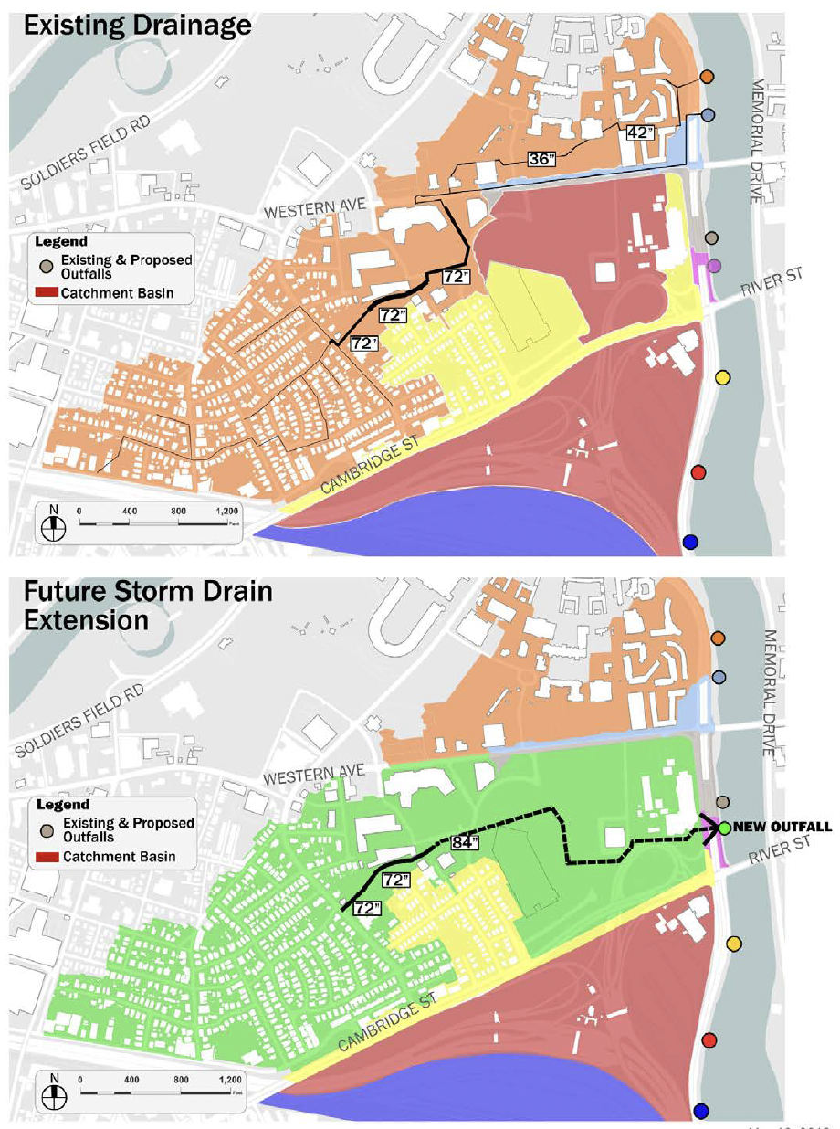 North Allston Storm Drain Extension Project map from Boston Water and Sewer Commission Environmental Notification Form.