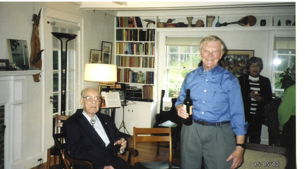 Liller, right, with Harvard Astronomy professor Fred L. Whipple at Liller's birthday symposium in 2002.