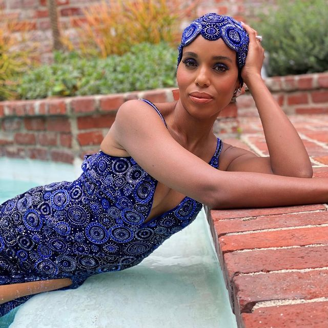 Kerry Washington poses in a pool for the 27th SAG Awards.