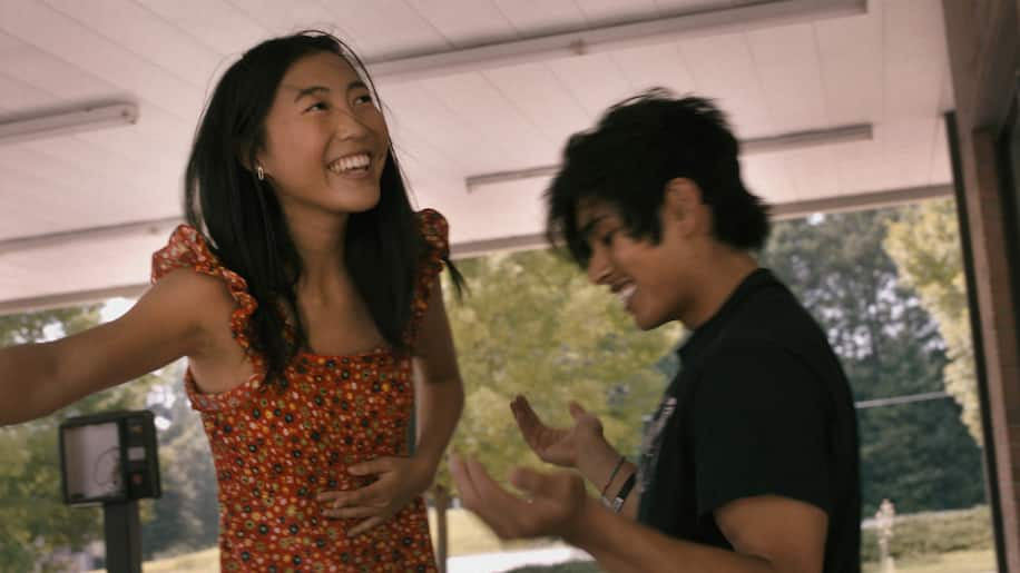 """Shirley Chen '22 (left) stars as Krista and Jose Angeles (right) stars as Nito in """"Beast Beast,"""" directed by Danny Madden."""
