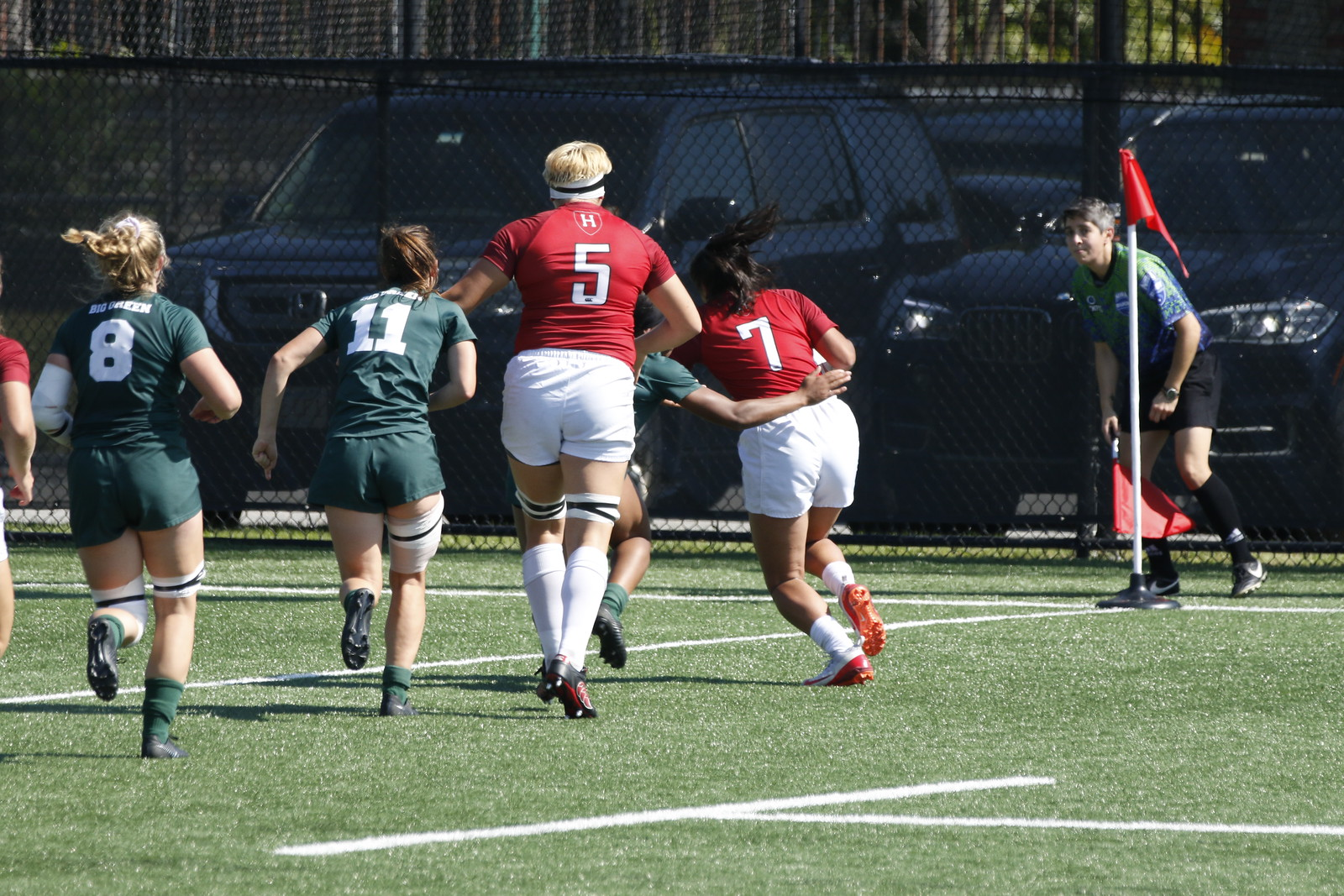 Gabrielle Fernandopulle '21 (#7) scores a try in the 2019 season home opener against Dartmouth.
