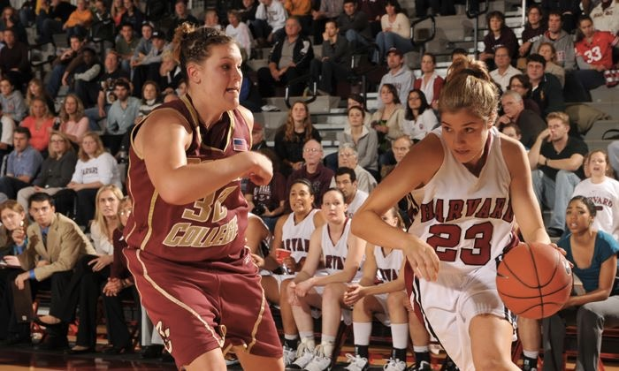 Alemany drives to the basket in front of a packed house in a game against the Boston College Eagles.