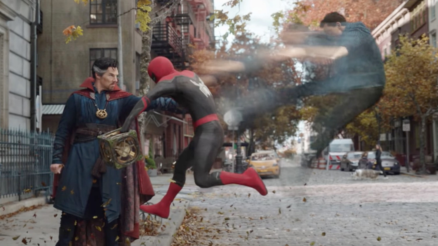 """Benedict Cumberbatch (left) stars as Doctor Strange and Tom Holland (right) stars as Peter Parker in the """"Spider-Man: No Way Home"""" (2021) trailer."""