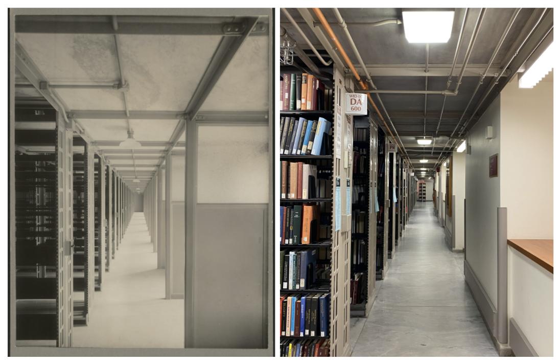 Widener Stacks, 1915 (left) and Widener Stacks, 2021 (right).