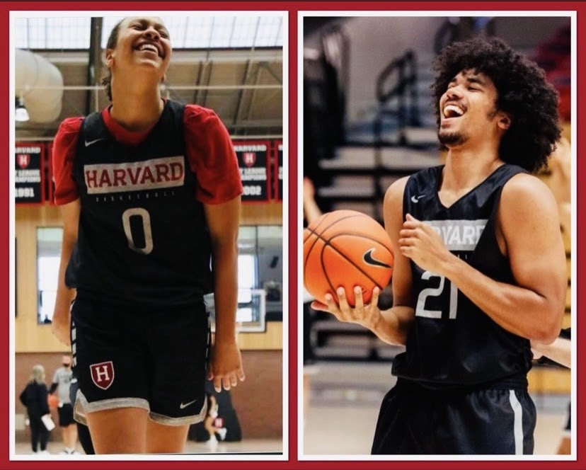 McKenzie and Mason in Harvard jerseys. The two will both suit up for the Crimson simultaneously for the first and only time this season.