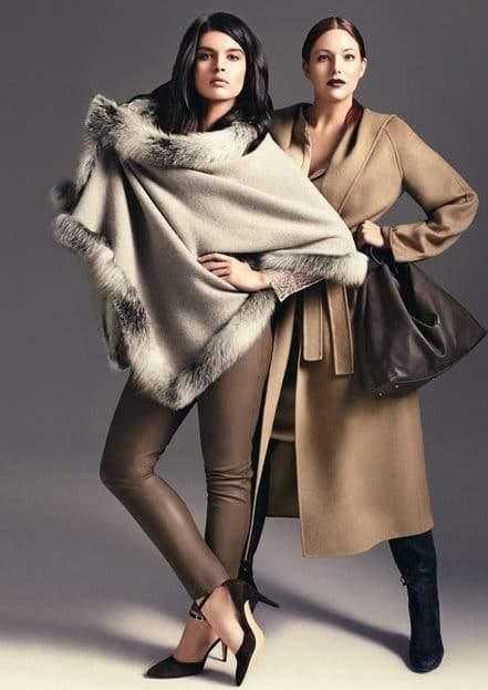 Marina Rinaldi Fall 2012 featuring Crystal Renn and Kate Dillon